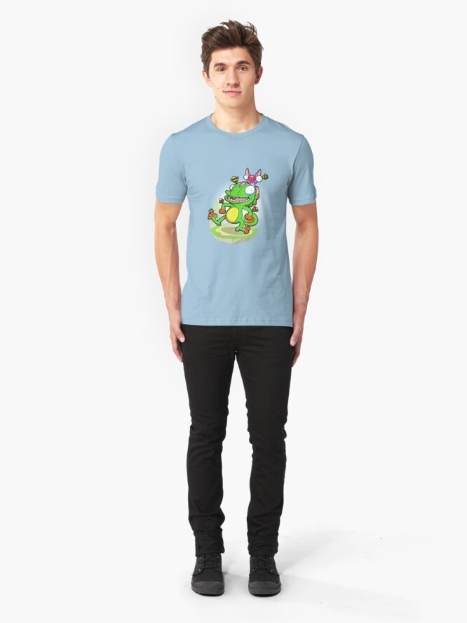 Alternate view of Lizard and Bat! (Bee armor version) Slim Fit T-Shirt