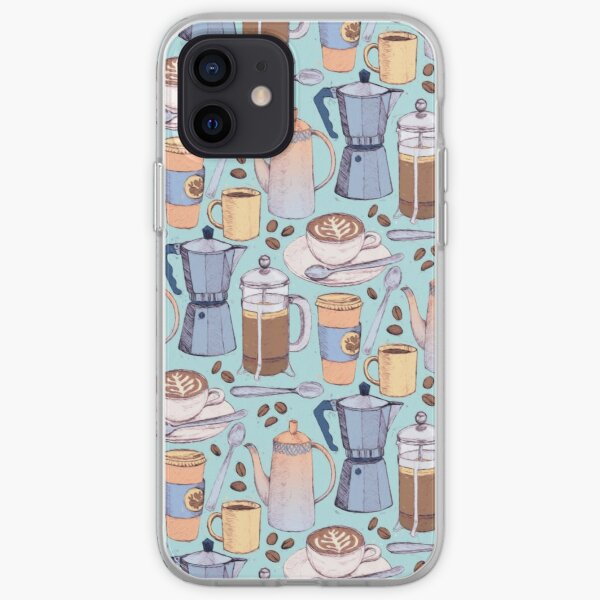 Coffee Love on Blue iPhone Soft Case