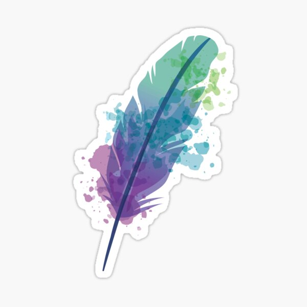 Watercolor Feather Sticker