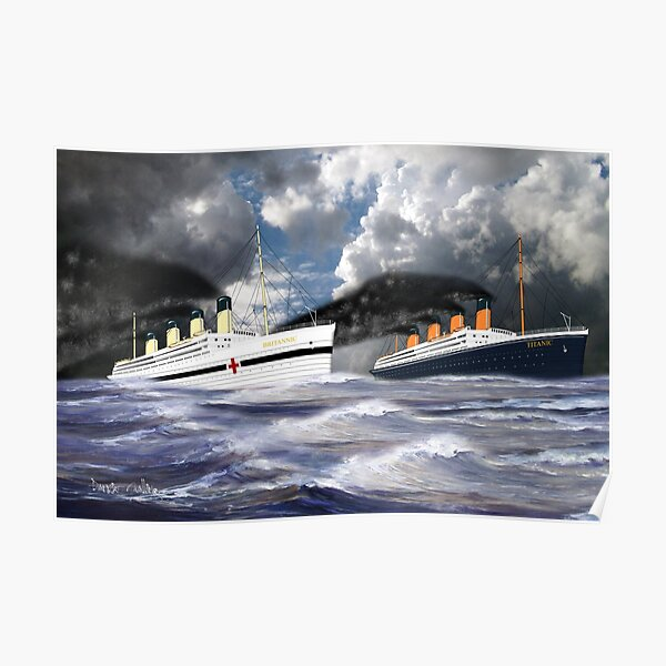 RMS Titanic together with her sister the HMHS Britannic 1912 Poster