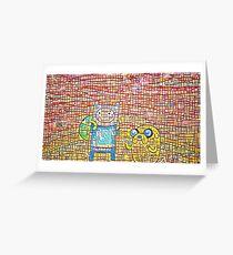 Finn and Jake's line art Greeting Card