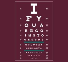 Hug Eye Chart (Clear back, white lettering)