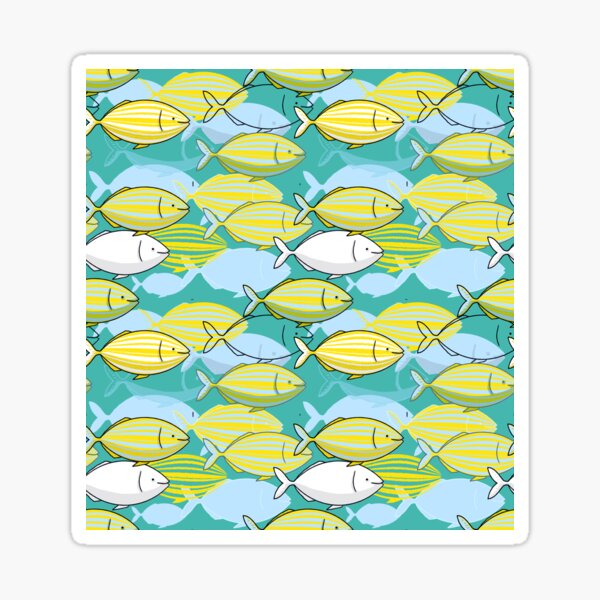 Salpa Salpa or dreamfish illustration with pattern of yellow striped fishes from the Mediterranean Sea on mint background Sticker