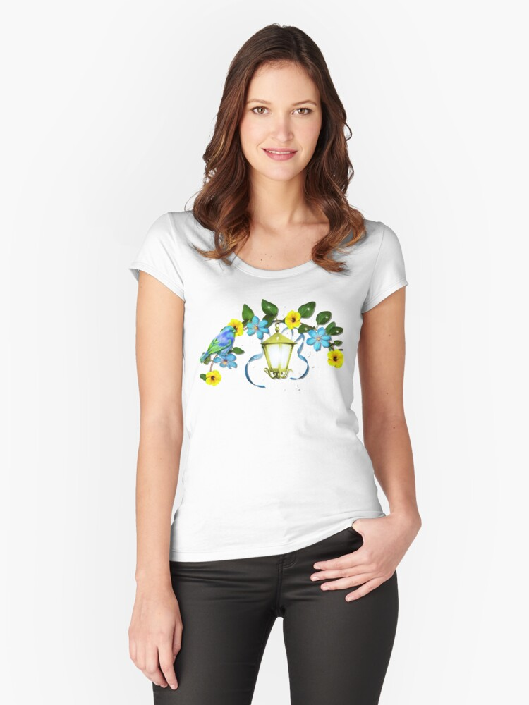 Blue Bird and Blue Flower Women's Fitted Scoop T-Shirt Front