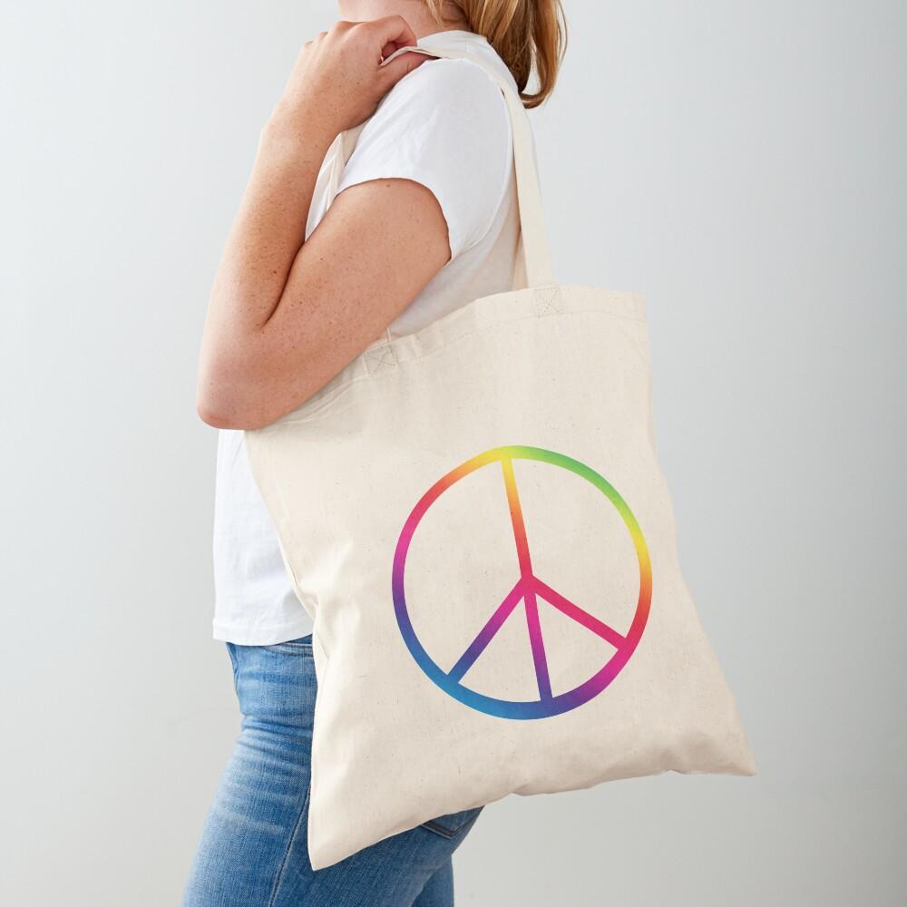 Rainbow Peace Symbol Tote Bag