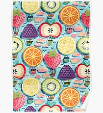 Fruity Hot Air Balloons  Poster