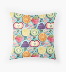 Fruity Hot Air Balloons  Throw Pillow