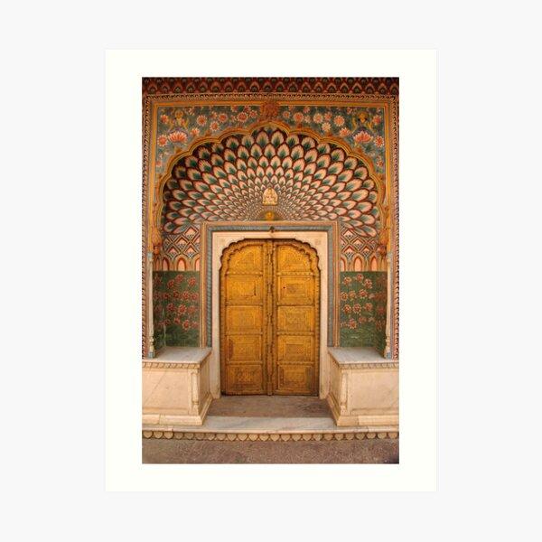 Lotus flower doorway, City Palace, Pink City, Jaipur Art Print
