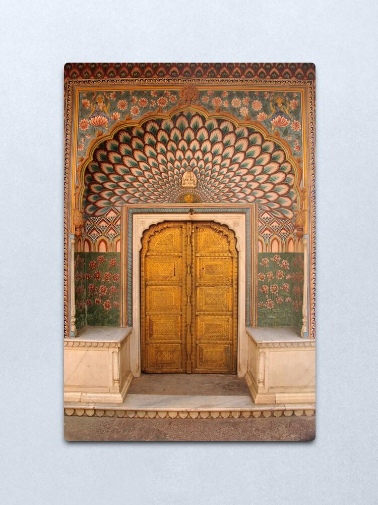 Alternate view of Lotus flower doorway, City Palace, Pink City, Jaipur Metal Print