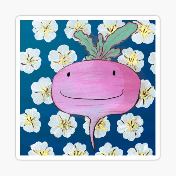 You're so rad(ish)! - Smiling radish illustration print with a happy homegrown vegetable on white poppies on blue background Sticker