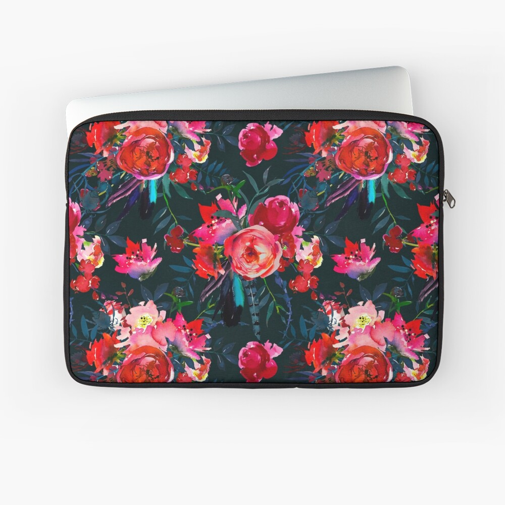 Neon pink fuschia black watercolor modern floral Laptop Sleeve