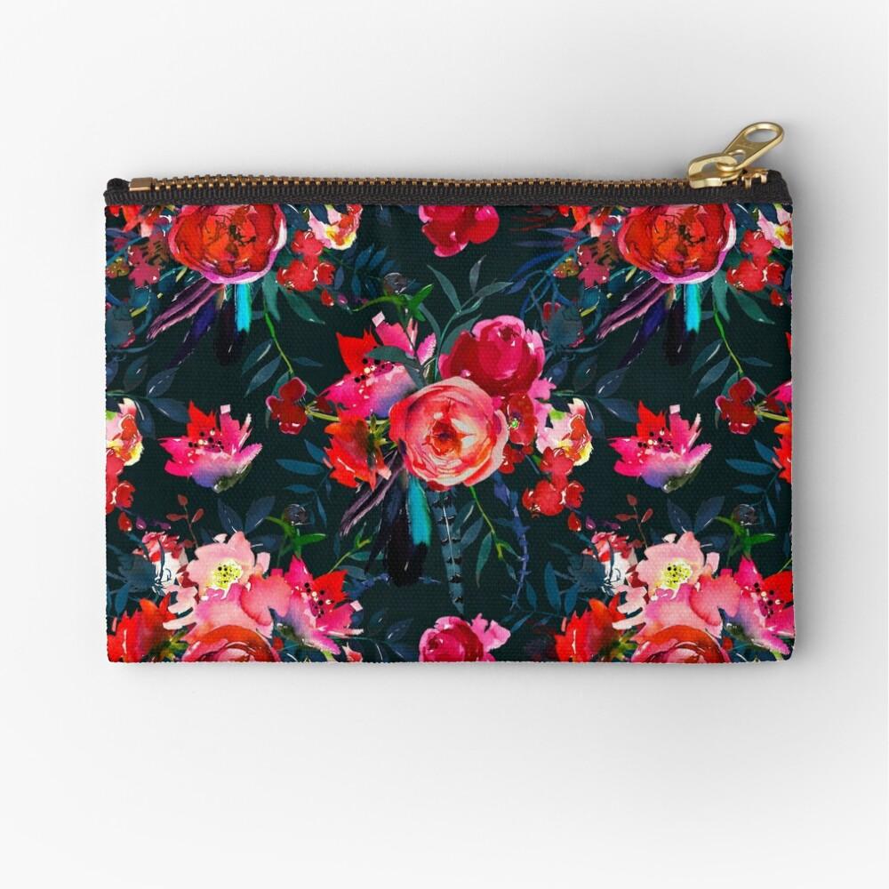 Neon pink fuschia black watercolor modern floral Zipper Pouch