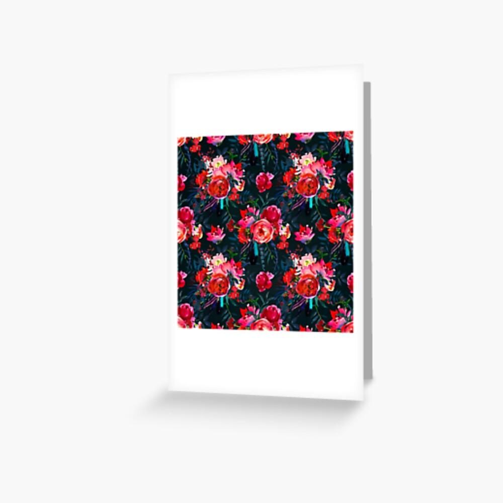 Neon pink fuschia black watercolor modern floral Greeting Card
