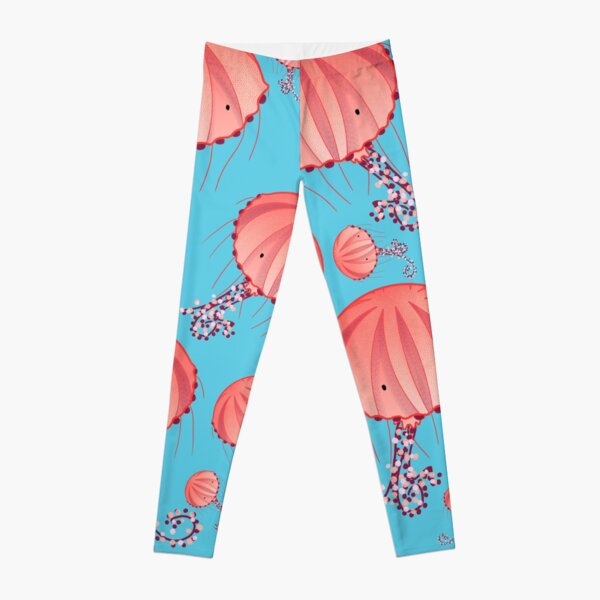 Compass Jellyfish Chrysaora Hysoscella jellyfish illustration with pattern of pink jellyfishes on baby blue background Leggings