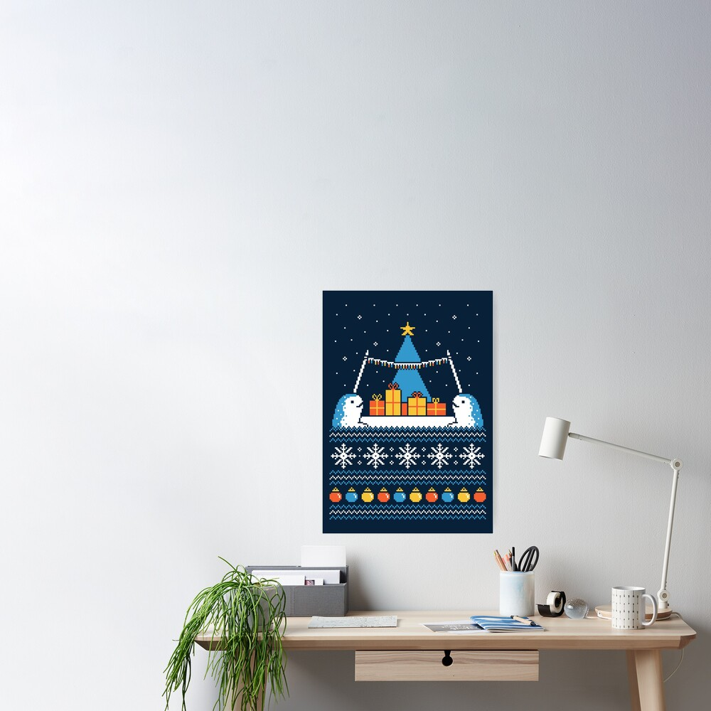 Christmas Narwhals Poster