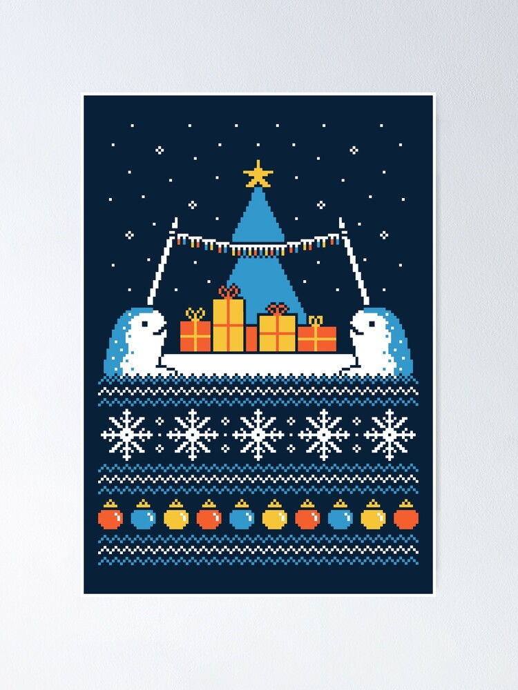 Alternate view of Christmas Narwhals Poster
