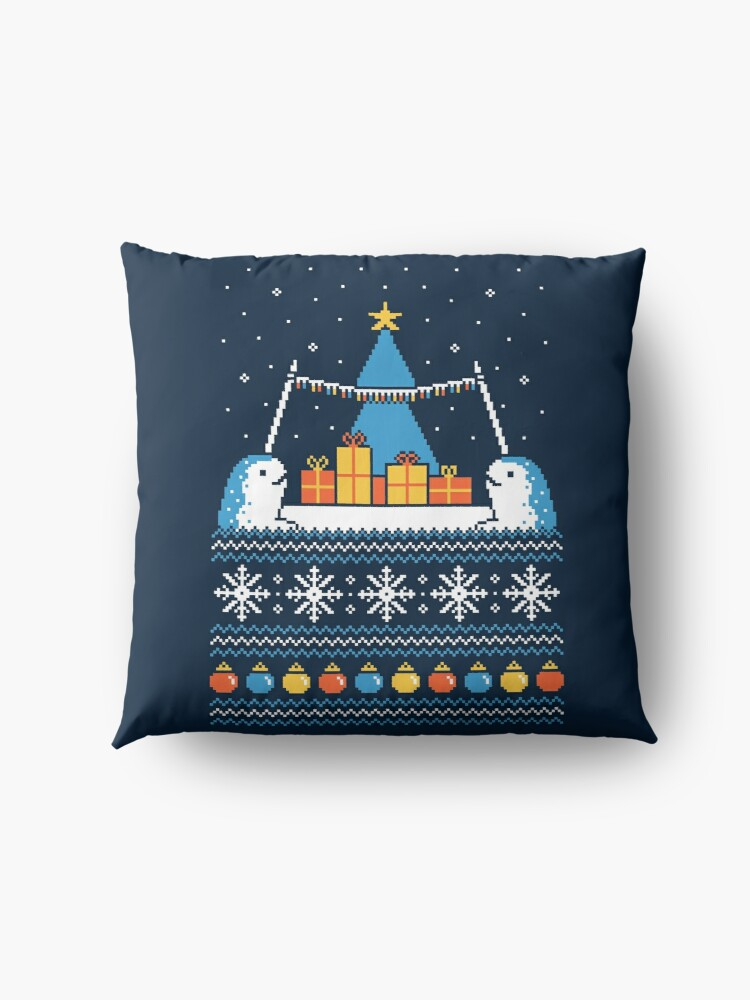 Alternate view of Christmas Narwhals Floor Pillow