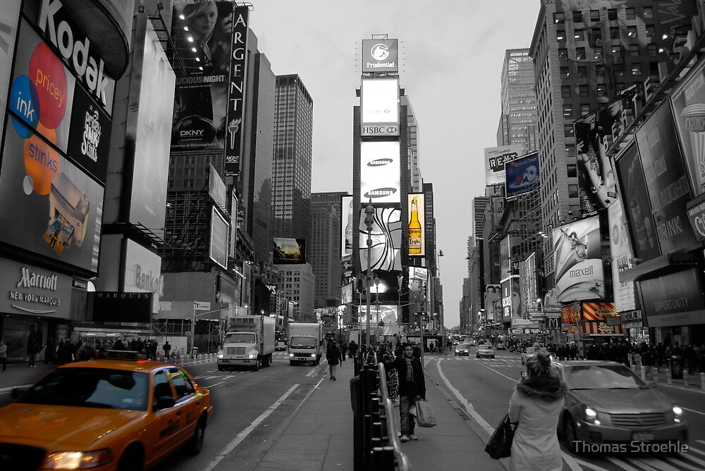 Time Square with cab by Thomas Stroehle