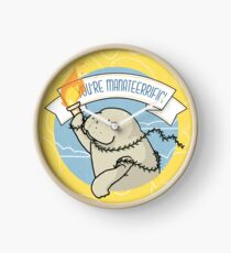 You're manateerrific! a manatee holding a torch for you self-care funny illustration Clock