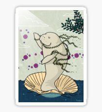 Botticelli's Venus manatee self-care funny illustration  Sticker