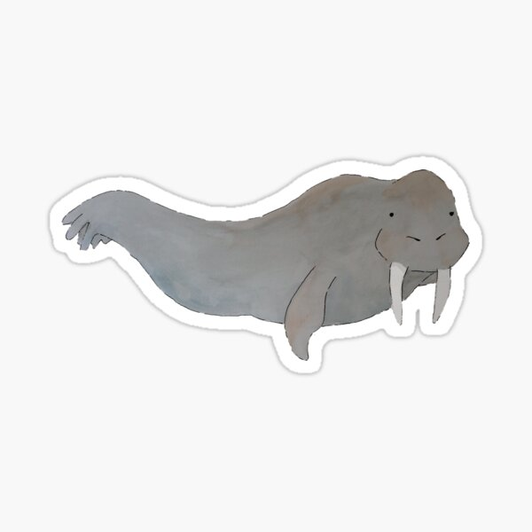 Walrus Watercolor Painting Sticker