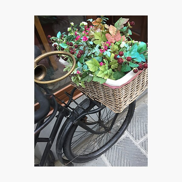 Flower Basket Byclette Photographic Print