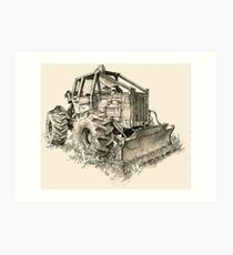 Log Tractor - Ink Art Print