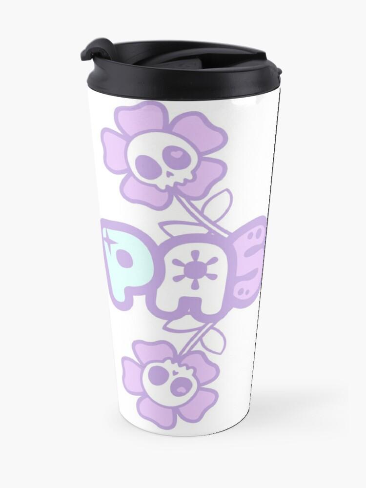Alternate view of Pastel Creepy Cute Skulls and Flowers Travel Mug