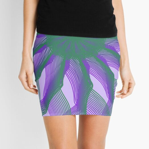 Spirograph with green and violet Mini Skirt