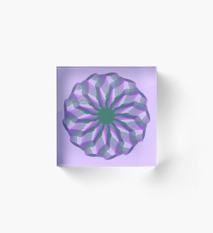 Spirograph with green and violet Acrylic Block