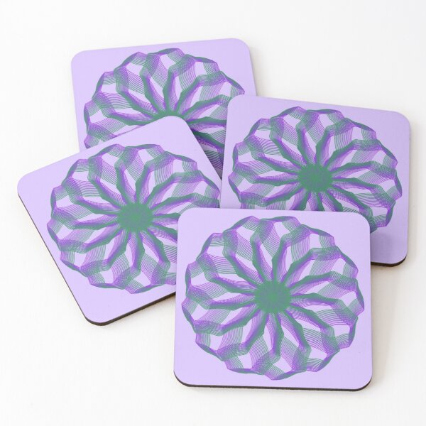 Spirograph with green and violet Coasters (Set of 4)