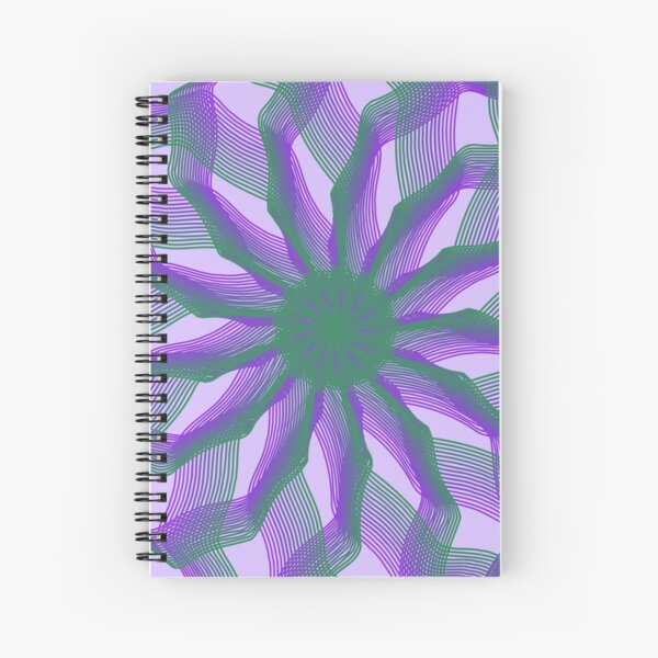 Spirograph with green and violet Spiral Notebook