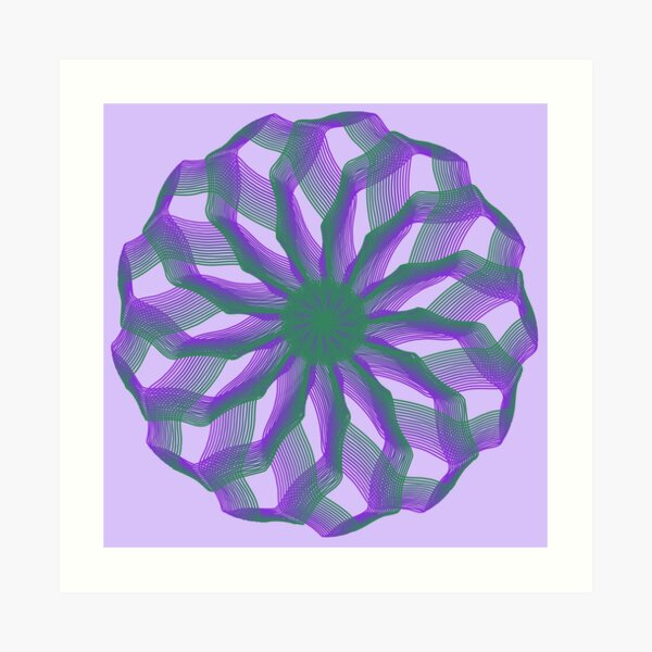 Spirograph with green and violet Art Print