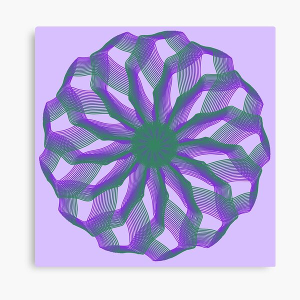 Spirograph with green and violet Canvas Print