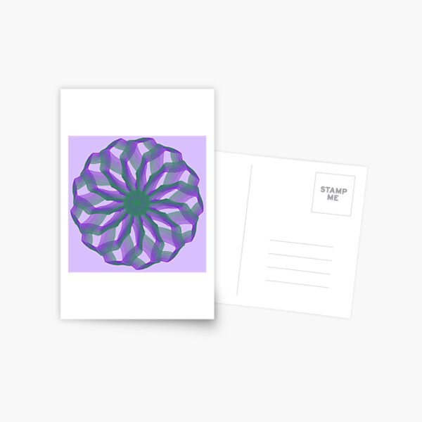 Spirograph with green and violet Postcard