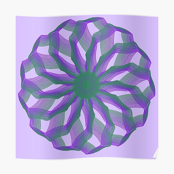 Spirograph with green and violet Poster