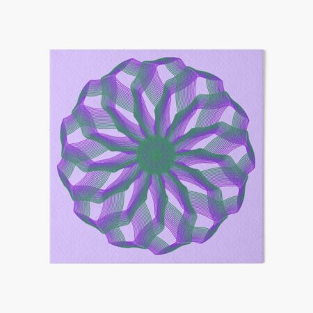 Spirograph with green and violet Art Board Print