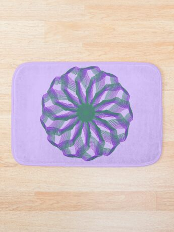 Spirograph with green and violet Bath Mat
