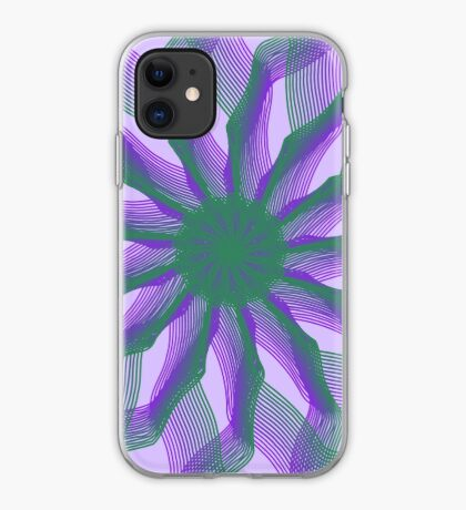 Spirograph with green and violet iPhone Case
