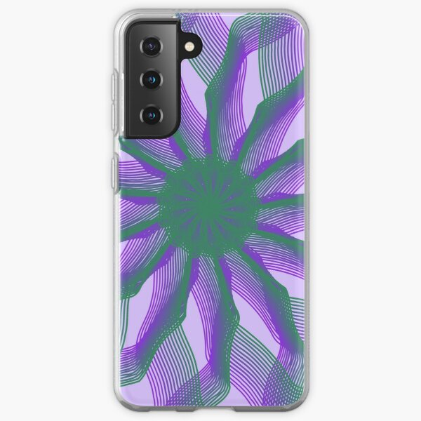 Spirograph with green and violet Samsung Galaxy Soft Case