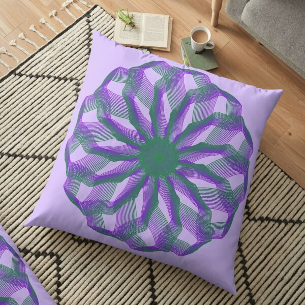 Spirograph with green and violet Floor Pillow