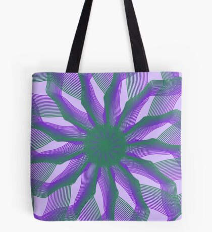 Spirograph with green and violet Tote Bag
