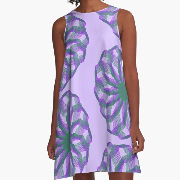 Spirograph with green and violet A-Line Dress