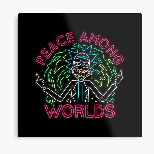 Peace Among Worlds neon Metal Print
