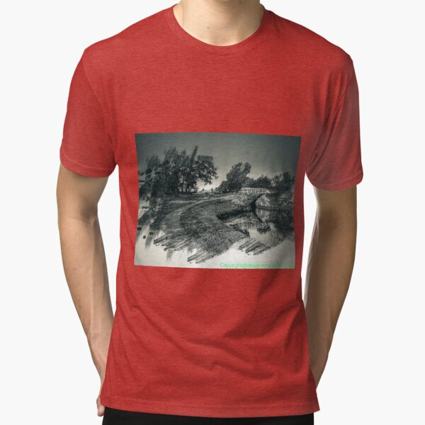 Canal and bridge in black and white  Tri-blend T-Shirt
