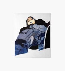 Man in jeans, ant perspective, fabric collage - faith and truth Art Board Print