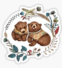 Whimsical Bear Pair with Fantasy Flora  Sticker