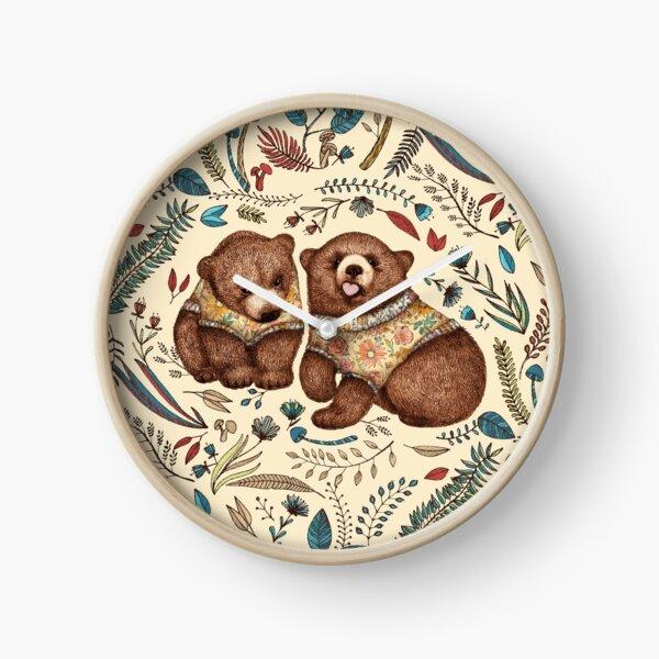 Whimsical Bear Pair with Fantasy Flora  Clock