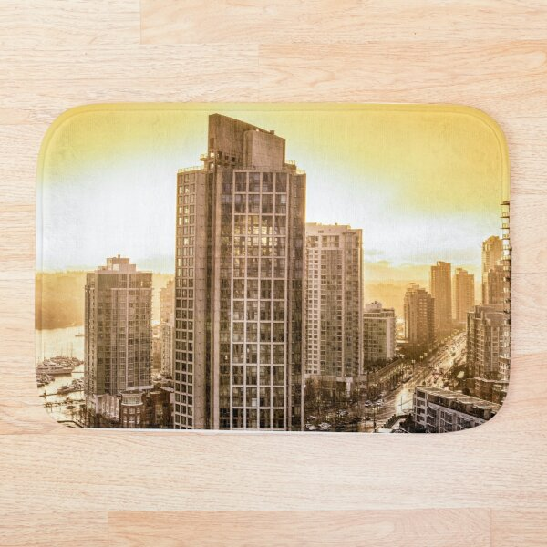 Twilight Thunder Storm and Yellow Skies British Columbia Canada Bath Mat