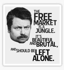 Ron Swanson Libertarian Free Market Capitalist Sticker